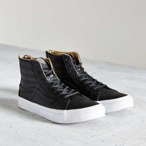 Black leather Van's sk8-hi slim gold zip